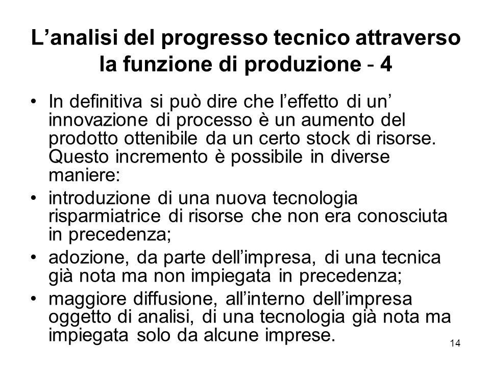 14 Lanalisi del progresso tecnico attraverso la funzione di produzione - 4 In definitiva si può dire che leffetto di un innovazione di processo è un a