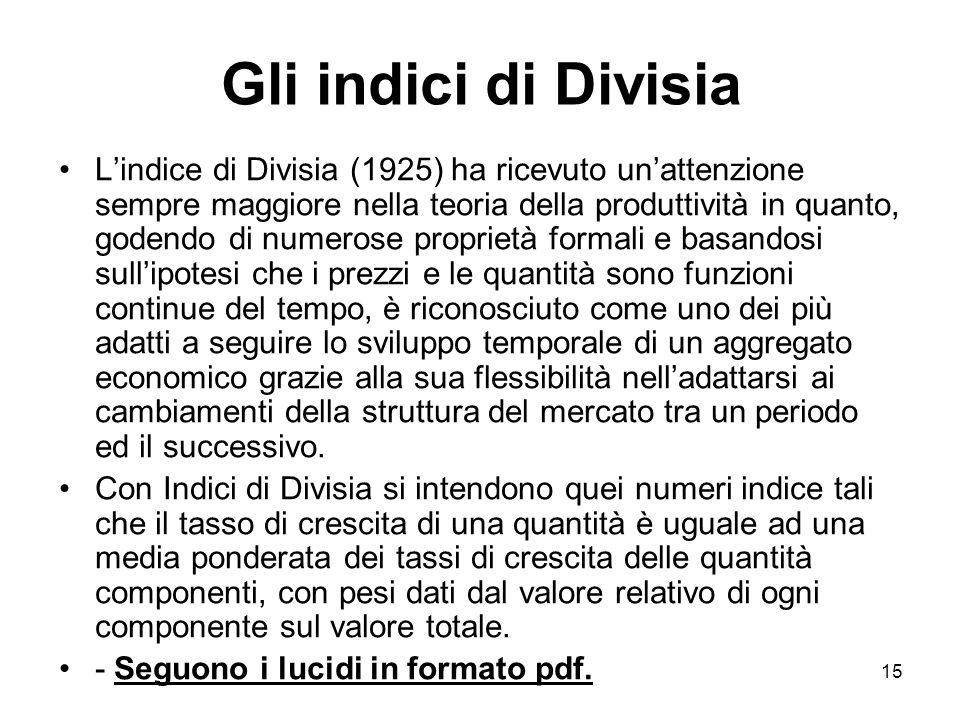 15 Gli indici di Divisia Lindice di Divisia (1925) ha ricevuto unattenzione sempre maggiore nella teoria della produttività in quanto, godendo di nume
