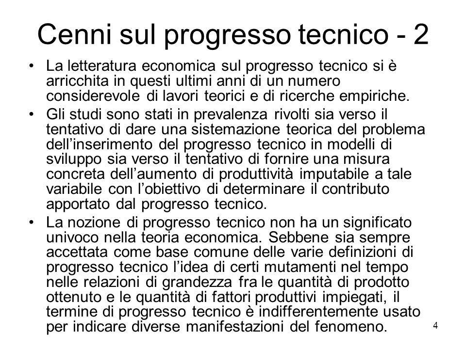 4 Cenni sul progresso tecnico - 2 La letteratura economica sul progresso tecnico si è arricchita in questi ultimi anni di un numero considerevole di l