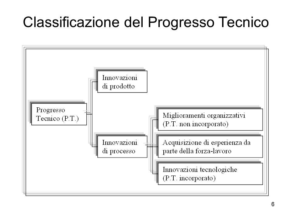 7 Produttività totale e produttività parziale dei fattori - 1 Alla base del progresso tecnico vi è, inoltre, un concetto fondamentale: quello di produttività totale e produttività parziale dei fattori.