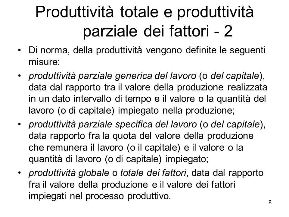 9 Produttività totale e produttività parziale dei fattori - 3 Analiticamente gli indici di produttività parziale dei fattori sono semplicemente i prodotti medi del lavoro o del capitale, mentre lindice di produttività totale dei fattori, il cosiddetto residuo o indice del progresso tecnico, è definito come loutput per unità di lavoro e capitale combinati insieme, ovvero gli indici di produttività parziale : [6.2]