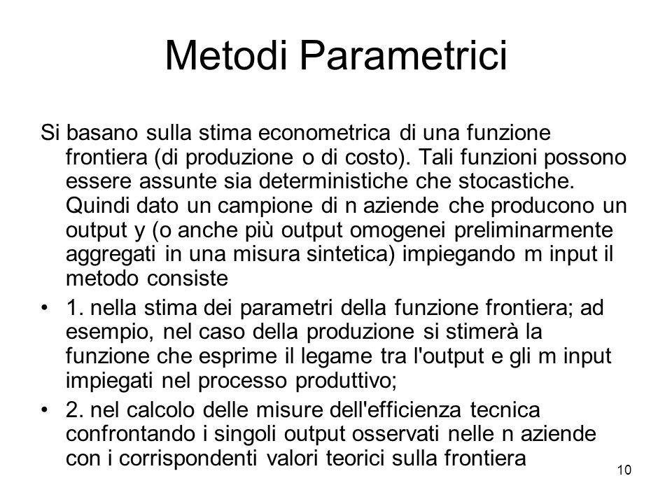 10 Metodi Parametrici Si basano sulla stima econometrica di una funzione frontiera (di produzione o di costo). Tali funzioni possono essere assunte si