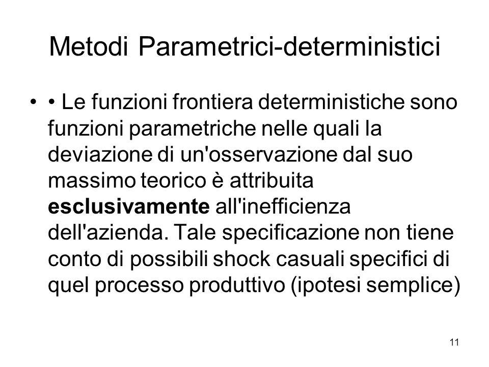 11 Metodi Parametrici-deterministici Le funzioni frontiera deterministiche sono funzioni parametriche nelle quali la deviazione di un'osservazione dal
