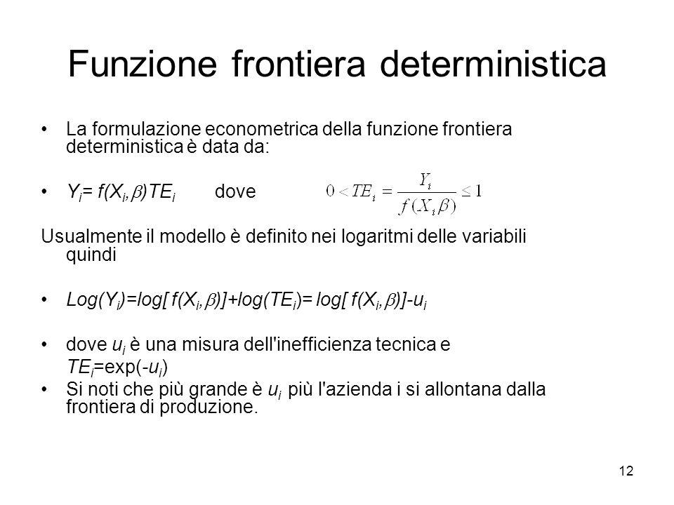 12 Funzione frontiera deterministica La formulazione econometrica della funzione frontiera deterministica è data da: Y i = f(X i, )TE i dove Usualment
