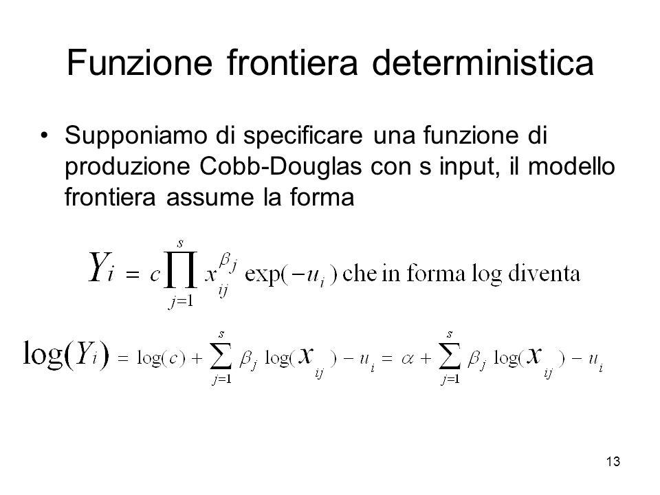 13 Funzione frontiera deterministica Supponiamo di specificare una funzione di produzione Cobb-Douglas con s input, il modello frontiera assume la for