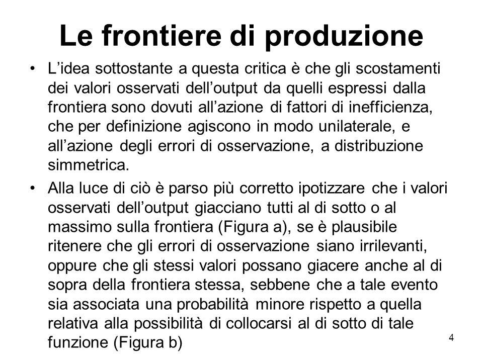 4 Le frontiere di produzione Lidea sottostante a questa critica è che gli scostamenti dei valori osservati delloutput da quelli espressi dalla frontie
