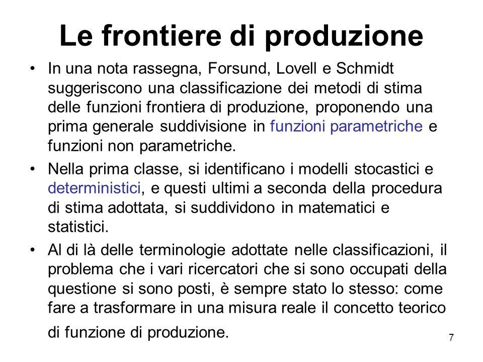 7 Le frontiere di produzione In una nota rassegna, Forsund, Lovell e Schmidt suggeriscono una classificazione dei metodi di stima delle funzioni front