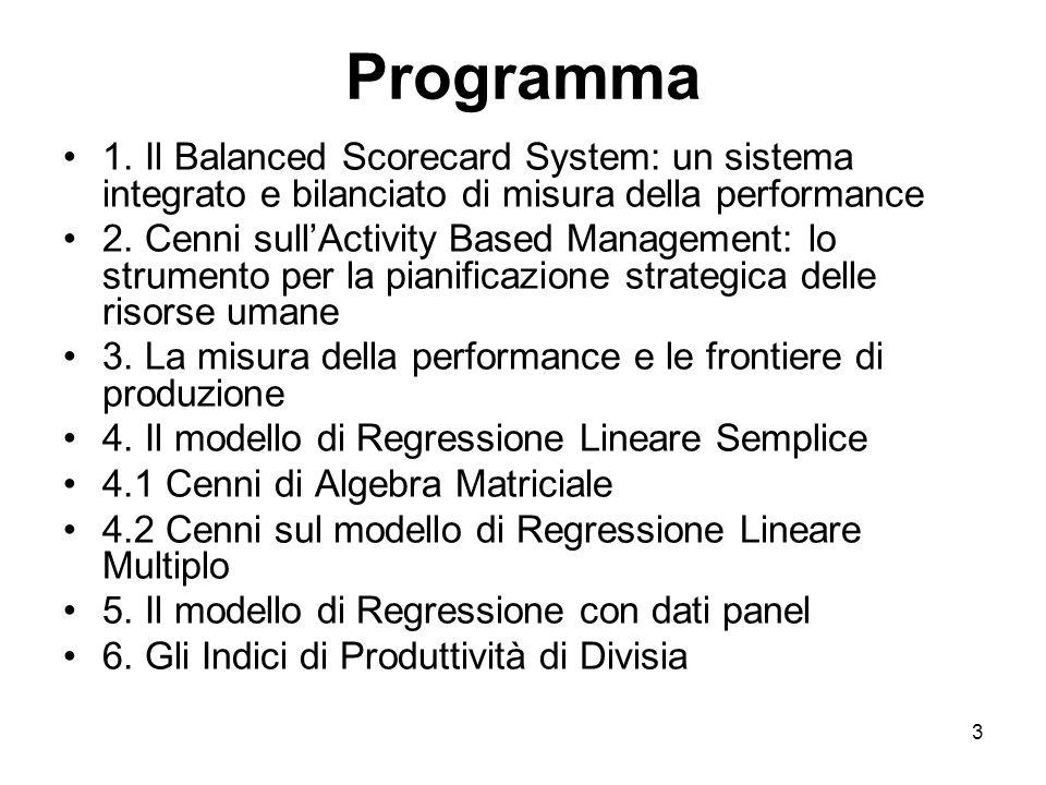 3 Programma 1. Il Balanced Scorecard System: un sistema integrato e bilanciato di misura della performance 2. Cenni sullActivity Based Management: lo