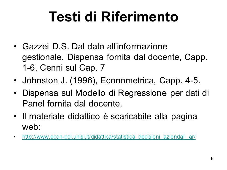 5 Testi di Riferimento Gazzei D.S. Dal dato allinformazione gestionale. Dispensa fornita dal docente, Capp. 1-6, Cenni sul Cap. 7 Johnston J. (1996),