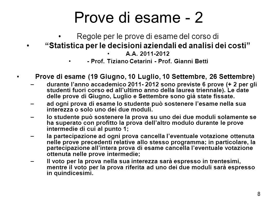 8 Prove di esame - 2 Regole per le prove di esame del corso di Statistica per le decisioni aziendali ed analisi dei costi A.A. 2011-2012 - Prof. Tizia