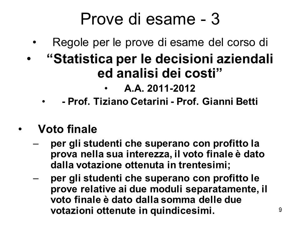 9 Prove di esame - 3 Regole per le prove di esame del corso di Statistica per le decisioni aziendali ed analisi dei costi A.A. 2011-2012 - Prof. Tizia
