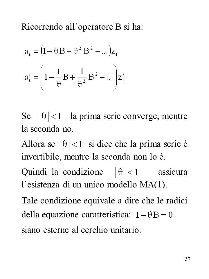 37 Ricorrendo alloperatore B si ha: Se la prima serie converge, mentre la seconda no. Allora se si dice che la prima serie è invertibile, mentre la se