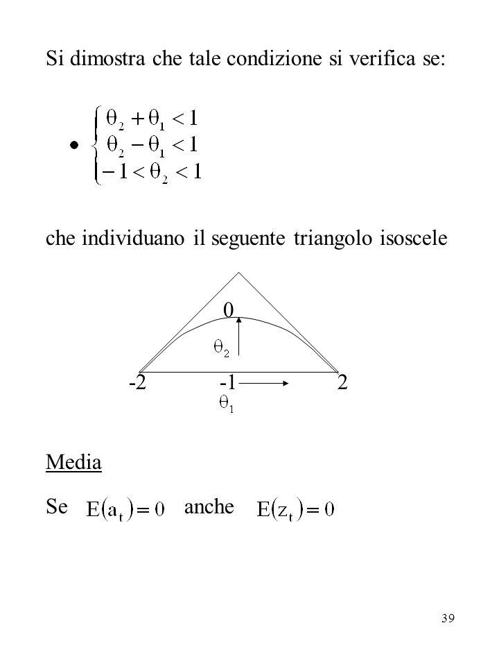 39 Si dimostra che tale condizione si verifica se: che individuano il seguente triangolo isoscele 0 -2 -1 2 Media Se anche
