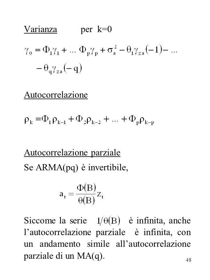 48 Varianza per k=0 Autocorrelazione Autocorrelazione parziale Se ARMA(pq) è invertibile, Siccome la serie è infinita, anche lautocorrelazione parzial