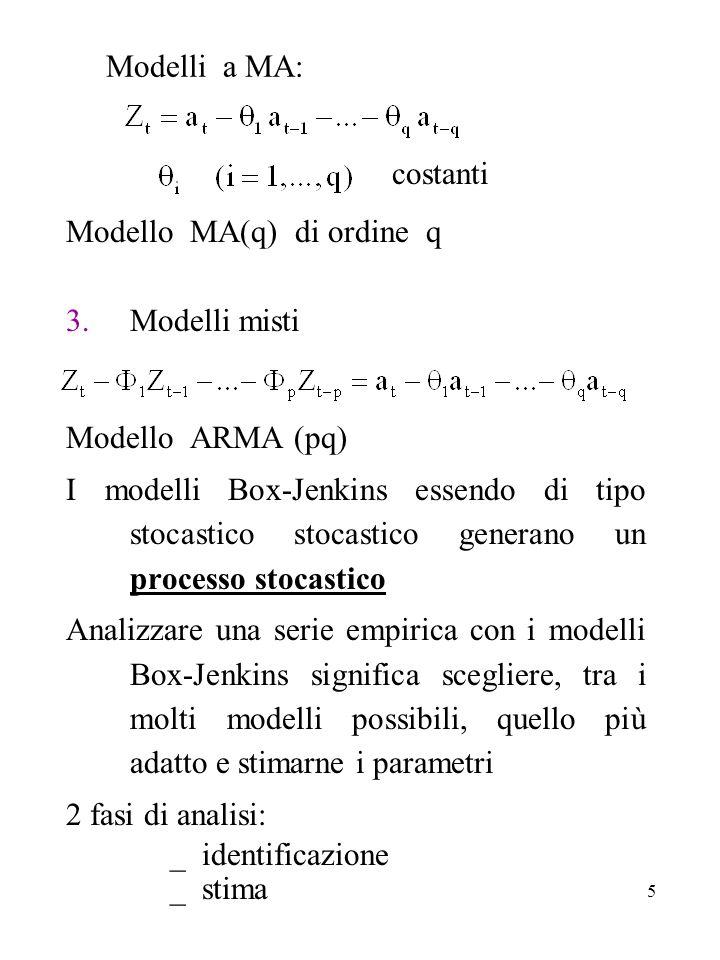 5 Modelli a MA: costanti Modello MA(q) di ordine q 3.Modelli misti Modello ARMA (pq) I modelli Box-Jenkins essendo di tipo stocastico stocastico gener