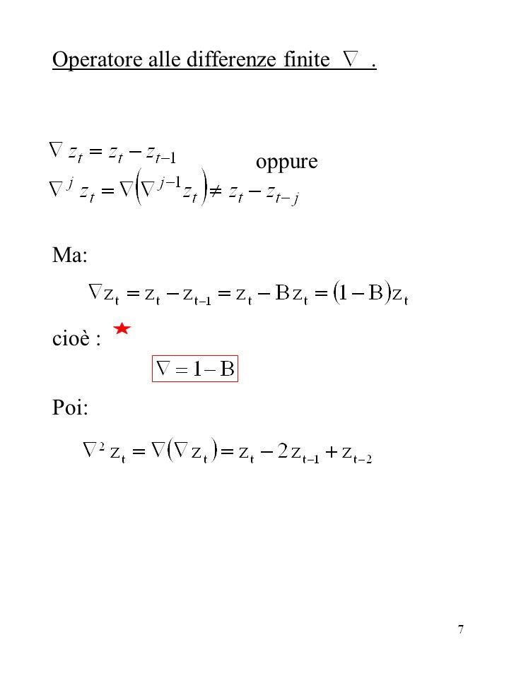 38 Autocorrelazione parziale Box & Jenkins dimostrano che Da cui si vede come i coefficienti di autocorrelazione parziale hanno un andamento smorzato, anche con oscillazioni di segno.
