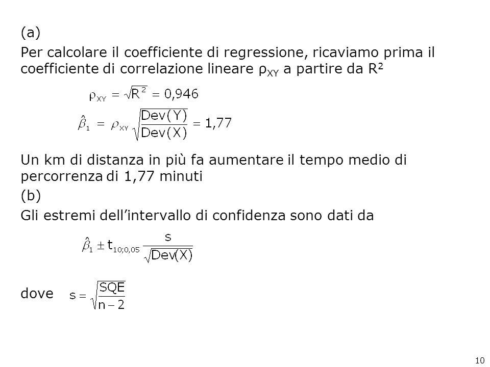 (a) Per calcolare il coefficiente di regressione, ricaviamo prima il coefficiente di correlazione lineare ρ XY a partire da R 2 Un km di distanza in più fa aumentare il tempo medio di percorrenza di 1,77 minuti (b) Gli estremi dellintervallo di confidenza sono dati da dove 10