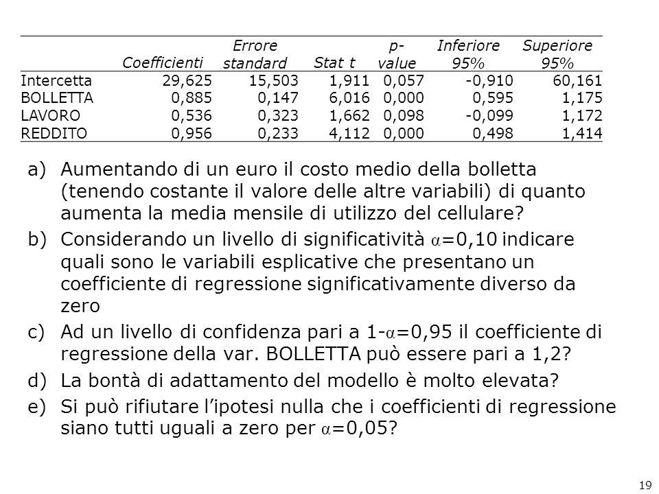 a)Aumentando di un euro il costo medio della bolletta (tenendo costante il valore delle altre variabili) di quanto aumenta la media mensile di utilizzo del cellulare.
