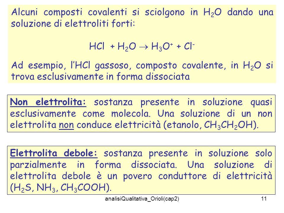 analisiQualitativa_Orioli(cap2)11 Alcuni composti covalenti si sciolgono in H 2 O dando una soluzione di elettroliti forti: HCl + H 2 O H 3 O + + Cl - Ad esempio, lHCl gassoso, composto covalente, in H 2 O si trova esclusivamente in forma dissociata Non elettrolita: sostanza presente in soluzione quasi esclusivamente come molecola.