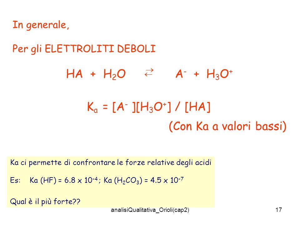 analisiQualitativa_Orioli(cap2)17 In generale, Per gli ELETTROLITI DEBOLI HA + H 2 O A - + H 3 O + K a = [A - ][H 3 O + ] / [HA] (Con Ka a valori bassi) Ka ci permette di confrontare le forze relative degli acidi Es: Ka (HF) = 6.8 x 10 -4 ; Ka (H 2 CO 3 ) = 4.5 x 10 -7 Qual è il più forte