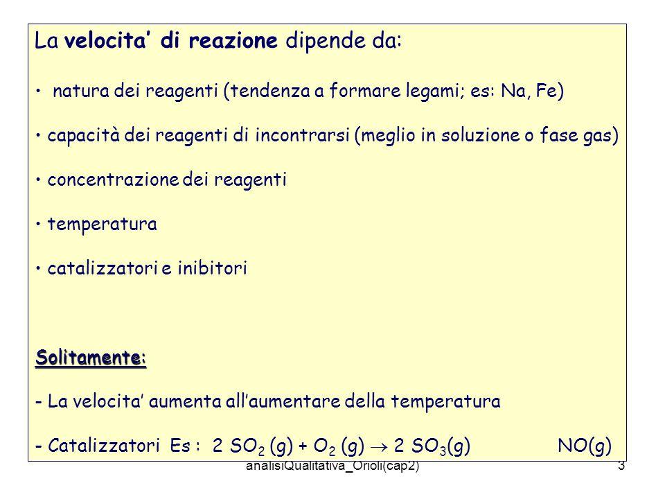 analisiQualitativa_Orioli(cap2)3 La velocita di reazione dipende da: natura dei reagenti (tendenza a formare legami; es: Na, Fe) capacità dei reagenti di incontrarsi (meglio in soluzione o fase gas) concentrazione dei reagenti temperatura catalizzatori e inibitoriSolitamente: - La velocita aumenta allaumentare della temperatura - Catalizzatori Es : 2 SO 2 (g) + O 2 (g) 2 SO 3 (g) NO(g)
