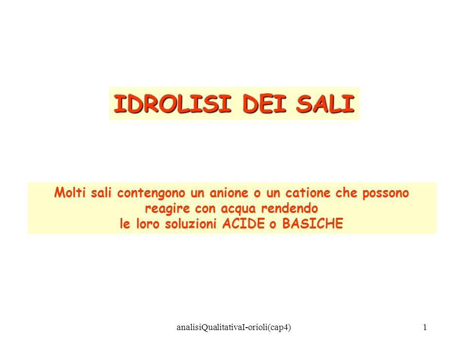 analisiQualitativaI-orioli(cap4)1 IDROLISI DEI SALI Molti sali contengono un anione o un catione che possono reagire con acqua rendendo le loro soluzi