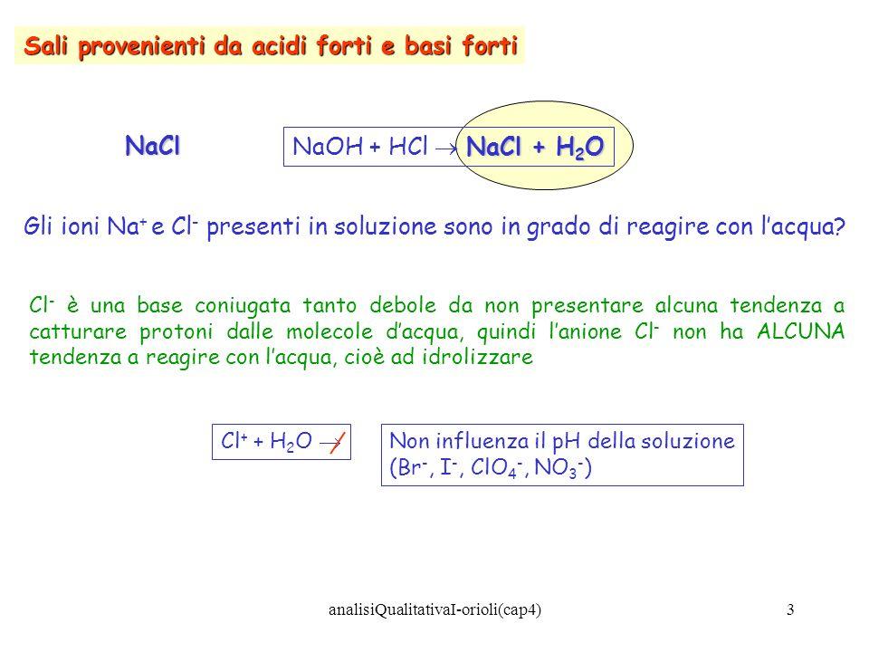 14 In termini generali: soluzioni neutre Sali di ACIDI FORTI E BASI FORTI soluzioni neutre (NaCl, KCl, KNO 3, BaI 2 ) soluzioni basiche Sali di ACIDI DEBOLI E BASI FORTI soluzioni basiche (Na 2 CO 3, NaHCO 3, CH 3 COONa) soluzioni acide Sali di ACIDI FORTI E BASI DEBOLI soluzioni acide (NH 4 Cl, NH 4 NO 3, NH 4 Br) Sali di ACIDI DEBOLI E BASI DEBOLI il pH dipende dalla forza relativa dellacido e della base (NH 4 CN, NH 4 NO 2, CH3COONH 4 ) analisiQualitativaI-orioli(cap4)