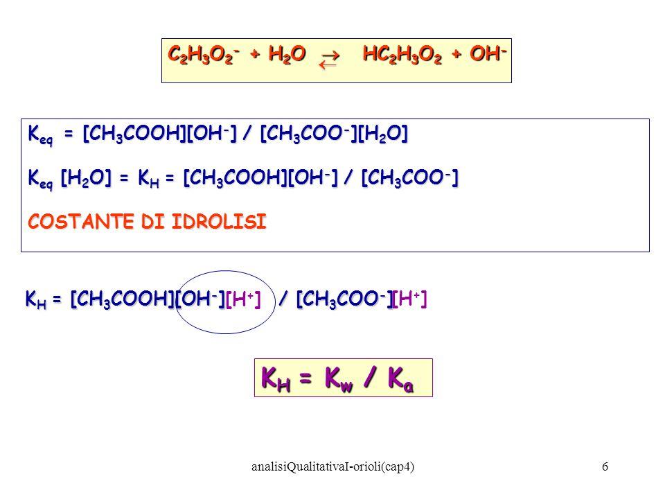 6 C 2 H 3 O 2 - + H 2 O HC 2 H 3 O 2 + OH - K eq = [CH 3 COOH][OH - ] / [CH 3 COO - ][H 2 O] K eq [H 2 O] = K H = [CH 3 COOH][OH - ] / [CH 3 COO - ] C