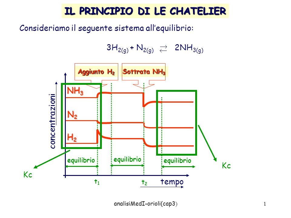 analisiMedI-orioli(cap3 ) 1 IL PRINCIPIO DI LE CHATELIER Consideriamo il seguente sistema allequilibrio: 3H 2(g) + N 2(g) 2NH 3(g) concentrazioni temp