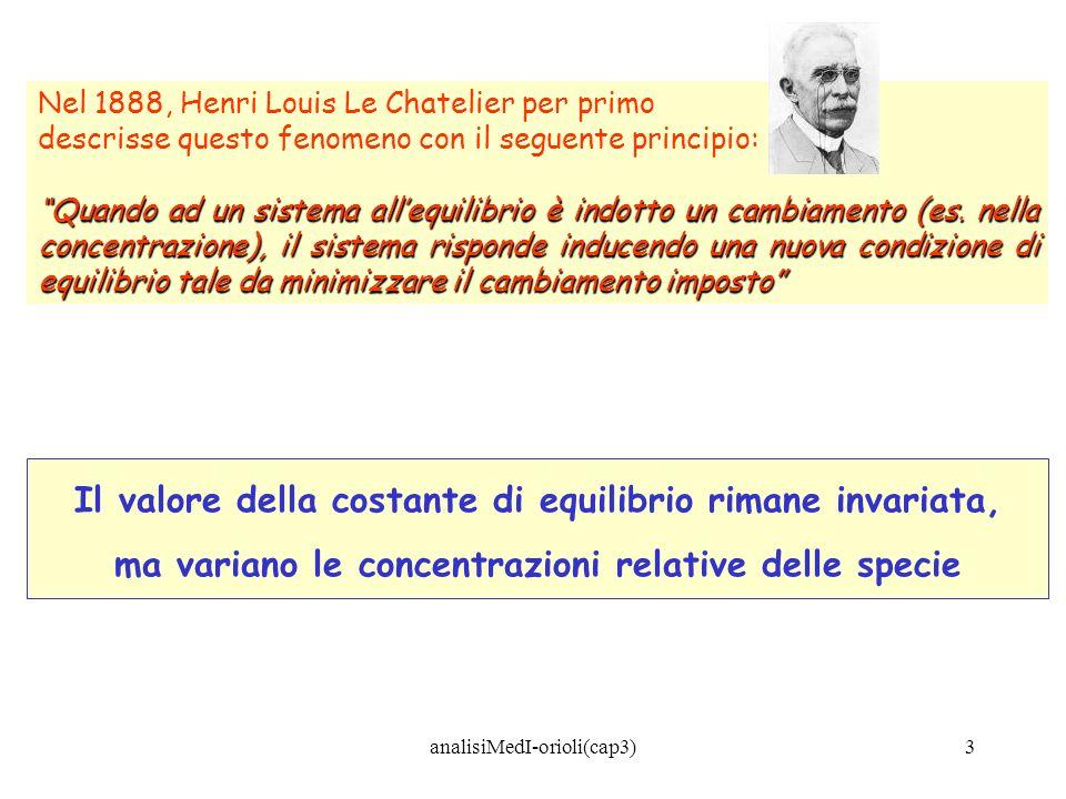 analisiMedI-orioli(cap3)3 Nel 1888, Henri Louis Le Chatelier per primo descrisse questo fenomeno con il seguente principio: Quando ad un sistema alleq