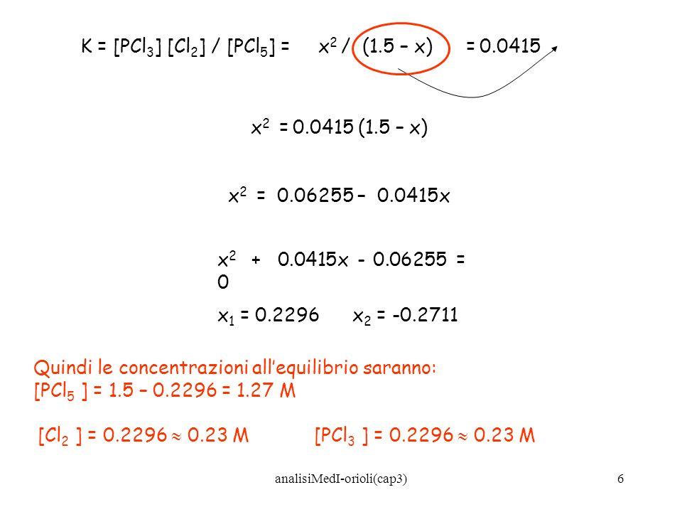analisiMedI-orioli(cap3)7 Determinando sperimentalmente la concentrazione dei prodotti e dei reagenti allequilibrio, è possibile ricavare il valore di K: 2HI (g) H 2 (g) + I 2 (g) [HI] iniziale = 1 mole/L [I 2 ] equilibrio = 0.125 moli/L 2HI H 2 + I 2 Qtà iniziale (M): 100 Qtà reagita/formata (M): -2(0.125)0.125 Qtà allequilibrio (M): 0.750.125 K = [H 2 ][I 2 ] / [HI] 2 = (0.125)(0.125) / (0.75) 2 = 0.028
