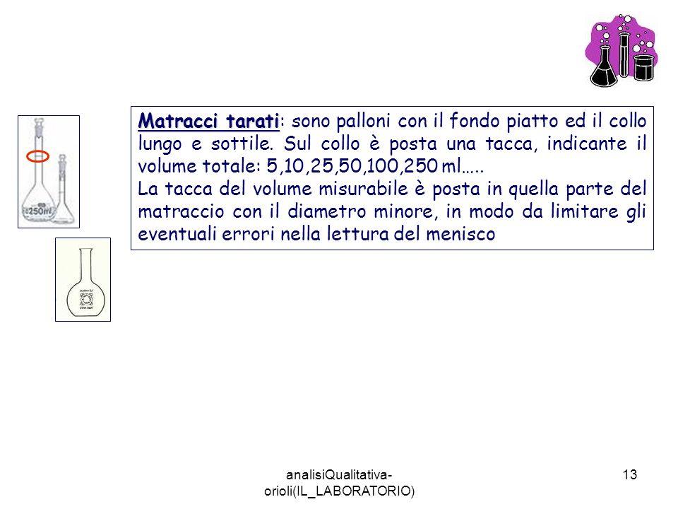 analisiQualitativa- orioli(IL_LABORATORIO) 13 Matracci tarati Matracci tarati: sono palloni con il fondo piatto ed il collo lungo e sottile. Sul collo