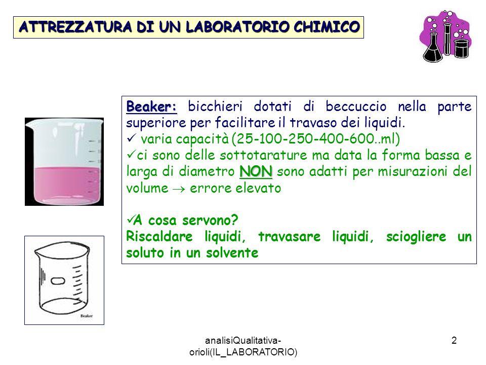 analisiQualitativa- orioli(IL_LABORATORIO) 2 ATTREZZATURA DI UN LABORATORIO CHIMICO Beaker: Beaker: bicchieri dotati di beccuccio nella parte superior