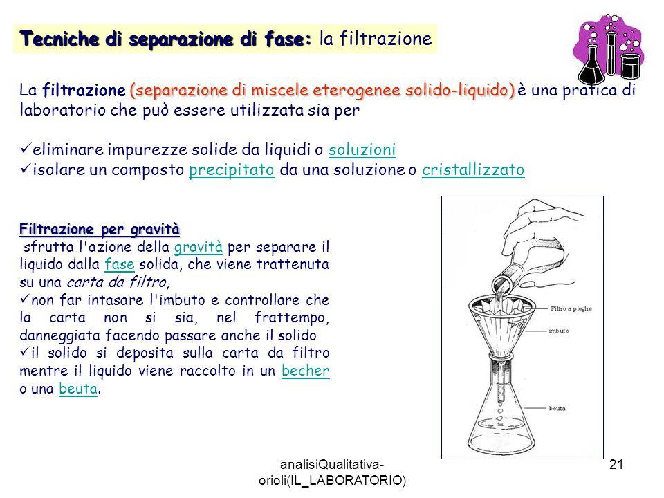 analisiQualitativa- orioli(IL_LABORATORIO) 21 Tecniche di separazione di fase: Tecniche di separazione di fase: la filtrazione (separazione di miscele