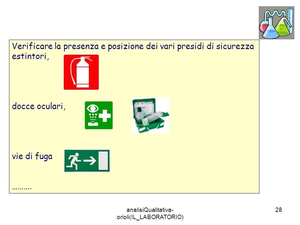 analisiQualitativa- orioli(IL_LABORATORIO) 28 Verificare la presenza e posizione dei vari presidi di sicurezza estintori, docce oculari, vie di fuga …