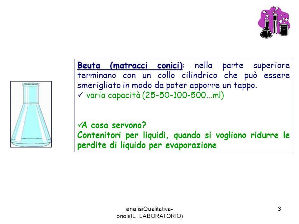 analisiQualitativa- orioli(IL_LABORATORIO) 3 Beuta (matracci conici) Beuta (matracci conici): nella parte superiore terminano con un collo cilindrico