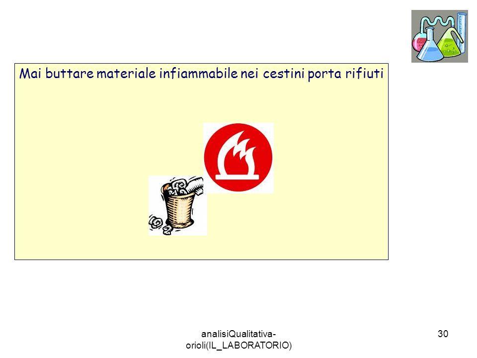 analisiQualitativa- orioli(IL_LABORATORIO) 30 Mai buttare materiale infiammabile nei cestini porta rifiuti