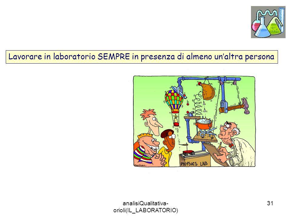 analisiQualitativa- orioli(IL_LABORATORIO) 31 Lavorare in laboratorio SEMPRE in presenza di almeno unaltra persona
