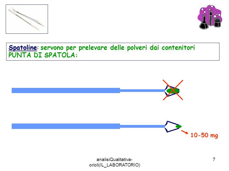 analisiQualitativa- orioli(IL_LABORATORIO) 7 Spatoline Spatoline: servono per prelevare delle polveri dai contenitori PUNTA DI SPATOLA: 10-50 mg