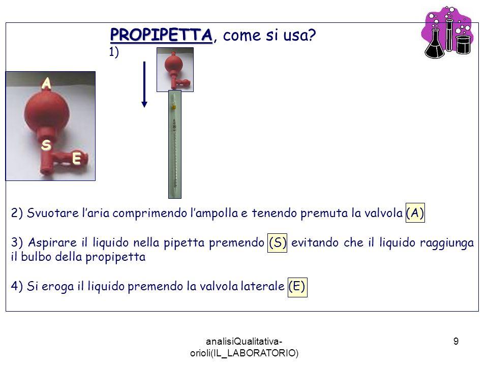 analisiQualitativa- orioli(IL_LABORATORIO) 9 A E S PROPIPETTA PROPIPETTA, come si usa? 1) 2) Svuotare laria comprimendo lampolla e tenendo premuta la