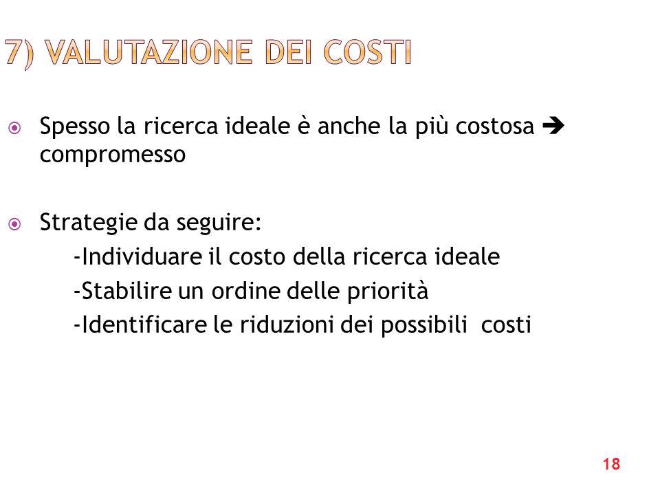 18 Spesso la ricerca ideale è anche la più costosa compromesso Strategie da seguire: -Individuare il costo della ricerca ideale -Stabilire un ordine delle priorità -Identificare le riduzioni dei possibili costi