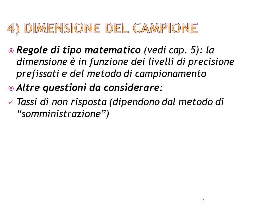 Regole di tipo matematico (vedi cap. 5): la dimensione è in funzione dei livelli di precisione prefissati e del metodo di campionamento Altre question