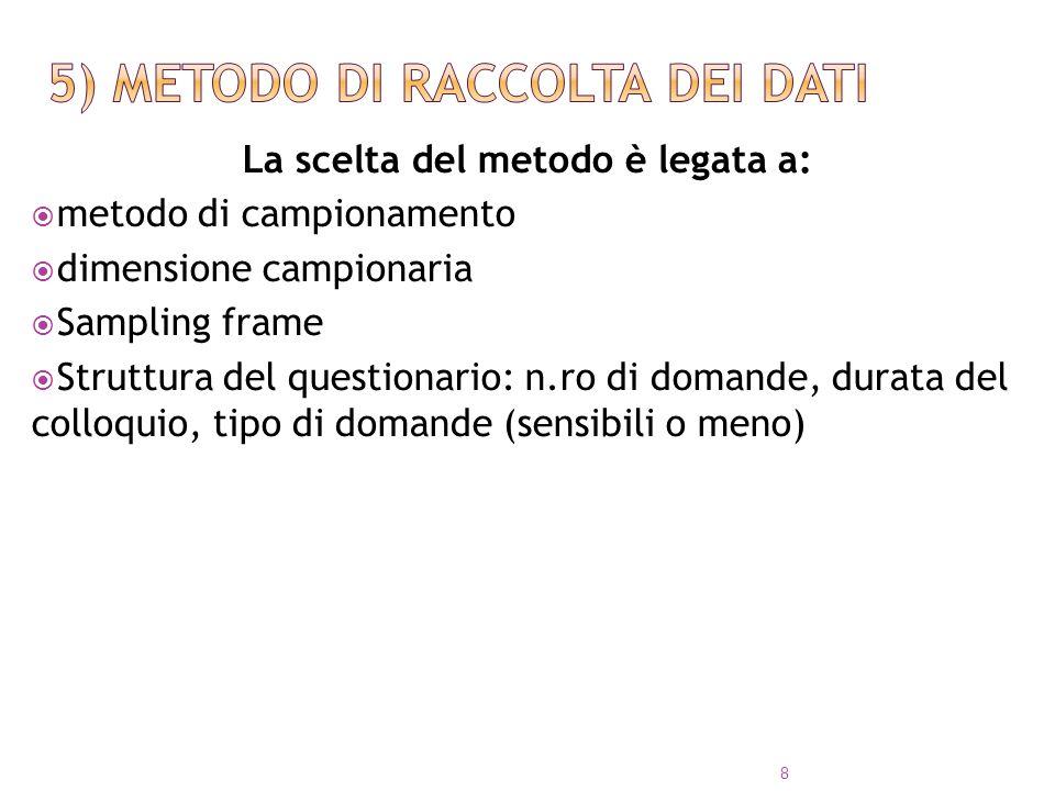 4 categorie principali: Interviste telefoniche Interviste personali (face to face) sondaggi via Mail Sondaggi elettronici (e-interviews) 9