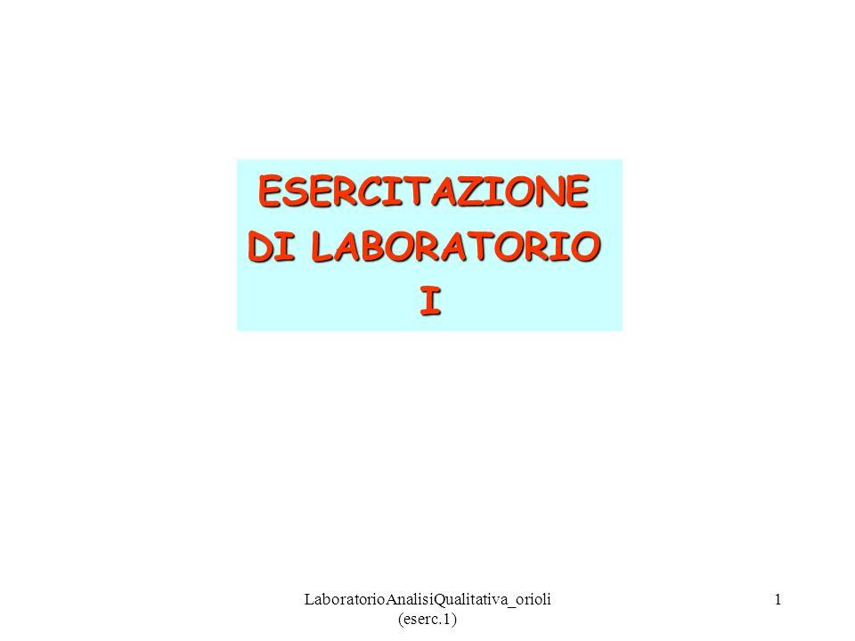 LaboratorioAnalisiQualitativa_orioli (eserc.1) 2 1)Prove di solubilità a.Na 2 CO 3 2Na + + CO 3 2- b.