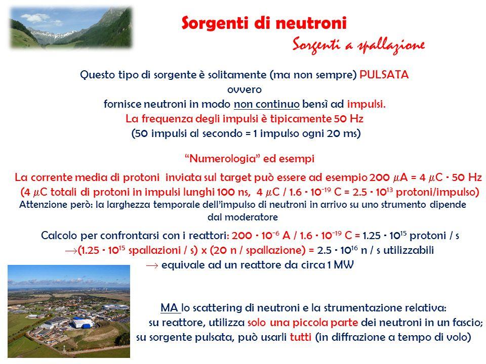 Sorgenti di neutroni Sorgenti a spallazione Questo tipo di sorgente è solitamente (ma non sempre) PULSATA ovvero fornisce neutroni in modo non continu