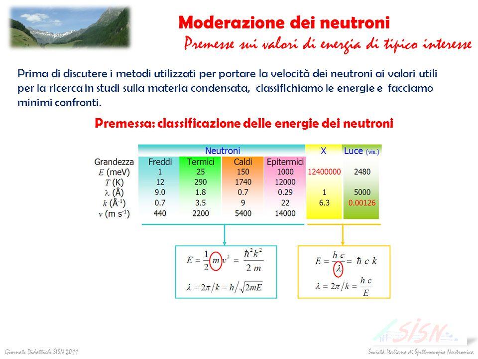 Moderazione dei neutroni Premesse sui valori di energia di tipico interesse Prima di discutere i metodi utilizzati per portare la velocità dei neutron