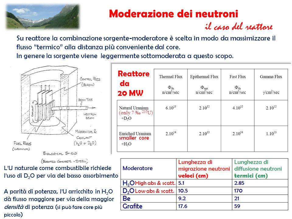 Moderazione dei neutroni il caso del reattore Su reattore la combinazione sorgente-moderatore è scelta in modo da massimizzare il flusso termico alla