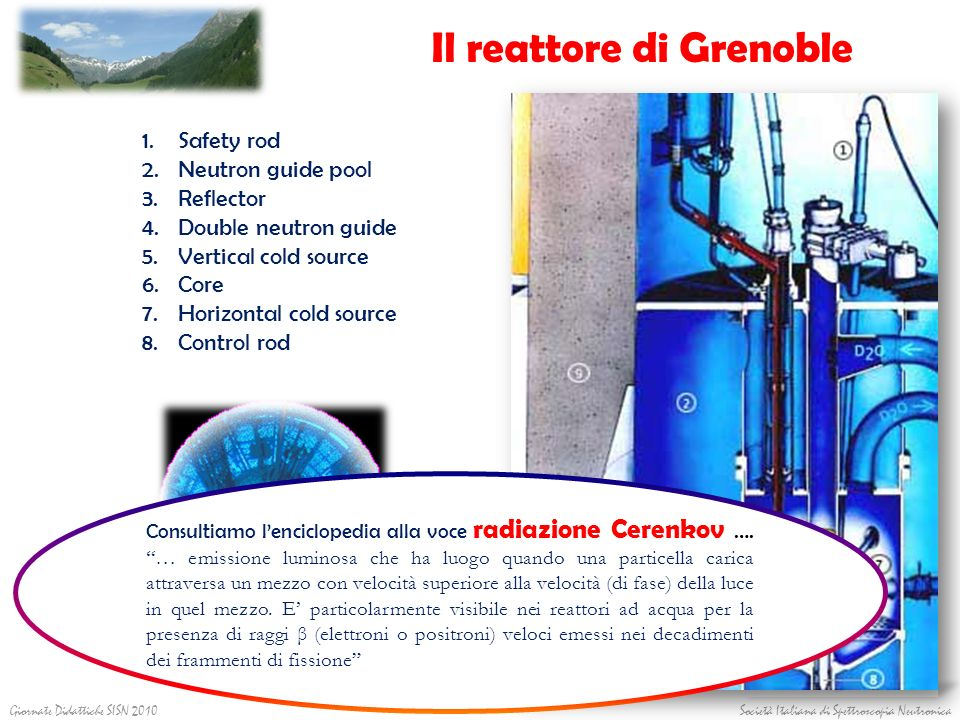 Il reattore di Grenoble 1.Safety rod 2.Neutron guide pool 3.Reflector 4.Double neutron guide 5.Vertical cold source 6.Core 7.Horizontal cold source 8.