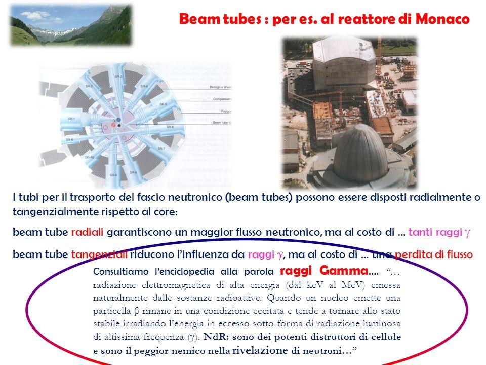 I tubi per il trasporto del fascio neutronico (beam tubes) possono essere disposti radialmente o tangenzialmente rispetto al core: beam tube radiali g