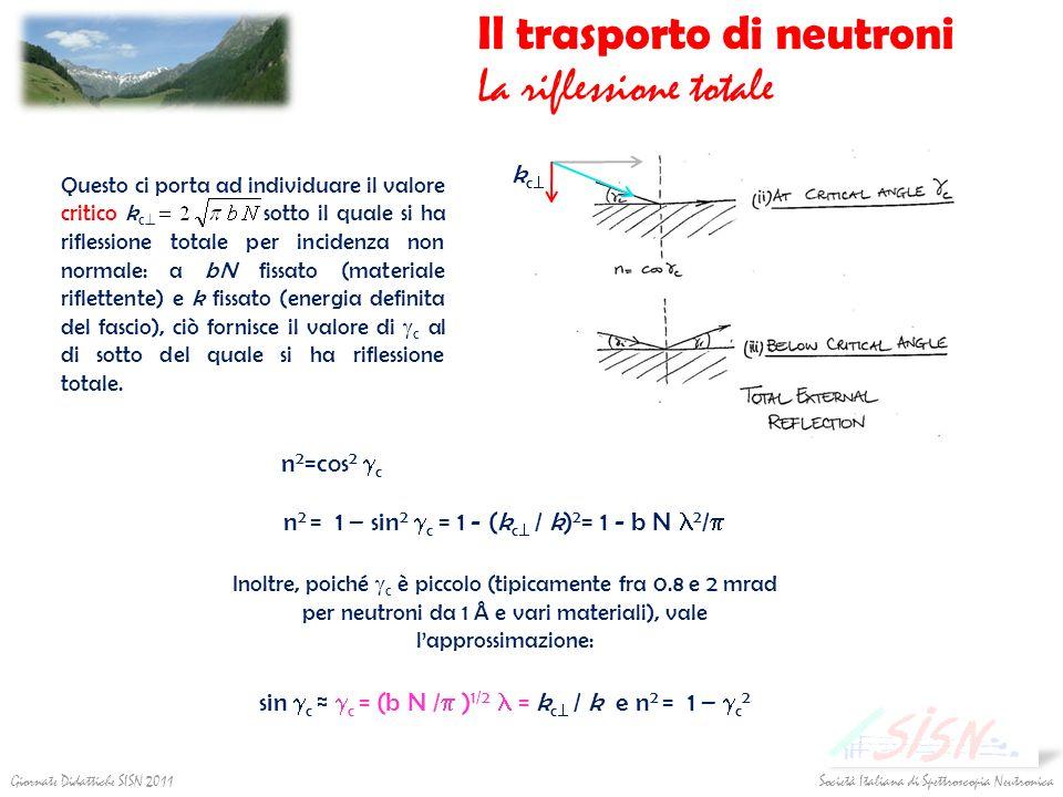Il trasporto di neutroni La riflessione totale n 2 =cos 2 c Questo ci porta ad individuare il valore critico k c sotto il quale si ha riflessione tota